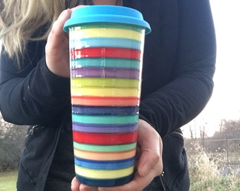 Large Ceramic Travel Mug with Silicone Lid - Bright Rainbow Color Stripes - Pick Your Lid Color - Jade Green Interior