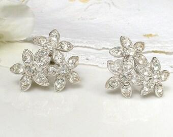 Vintage ORA Art Deco Pave Rhinestone Earrings, 1940s 1950s Silver Crystal Flower Bridal Earrings, Vintage Wedding Jewelry Stud Screw Back On