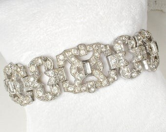 Antique 1930s Art Deco Clear Pave Rhinestone WIDE Link Bracelet, Gatsby Bridal Jewelry, Vintage Flapper Paste Crystal Statement Bracelet