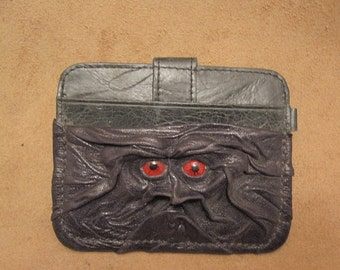 Grichels leather card wallet - black with red carousel horse eyes