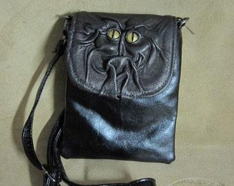 Grichels leather purse/handbag - bronze with gold speckled slit pupil reptile eyes