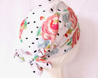 Surgical Scrub Cap - Tie back , Scrub Hat, Floral Modern Print, Polka Dot, White, Pink, and Black, Operating Cap