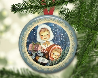 """3.5"""" holiday ornaments for tree - vintage christmas tree decoration - holiday refrigerator magnets for the kitchen - kitchen decor MA-HOL-8"""