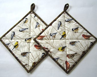 Pot Holders Set of 2 - Birds Potholders,  Pot Holders with Birds, Nature