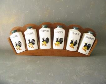Vintage Rooster Spice Rack, Japan, ceramic, wood, kitchen decor, storage, spice shelf, holder