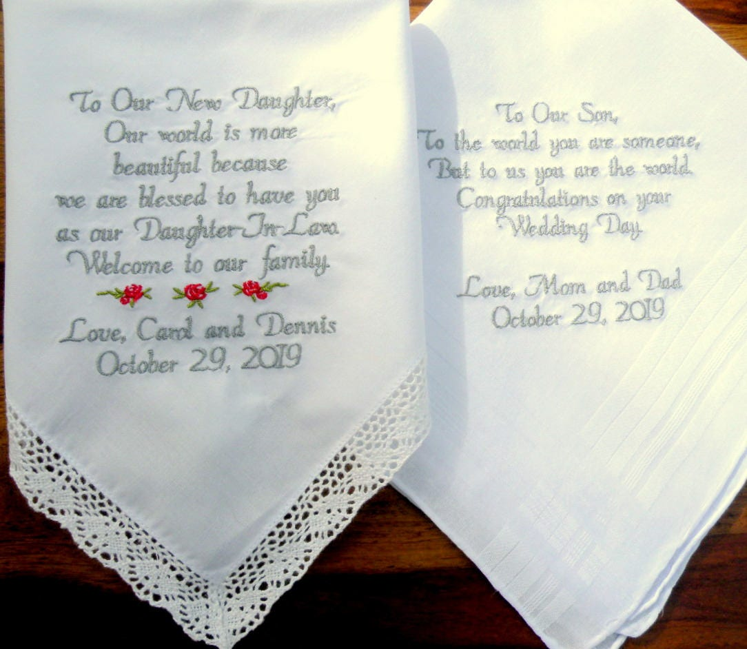 Wedding Handkerchiefs For The Family: Embroidered Wedding Handkerchiefs Wedding Gift Daughter And