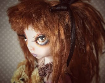 OOAK Art Doll Madeline child doll collectible art figure with miniature handmade Teddy Bear