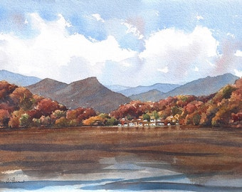 """Autumn Landscape Watercolor Painting, """"Indian Summer"""" - Fine Art Archival Print- Signed Giclée- Limited Edition Art by Laura D. Poss"""