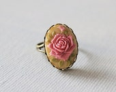 Black Friday SALE Vintage Style Rose Cameo Ring