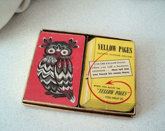 Vintage Owl and Yellow Pages Playing Cards