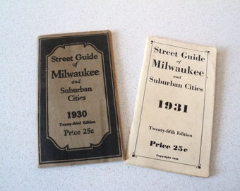 2 Vintage 1930s Milwaukee Street Guide. Filled with Terrifying Medical Ads.