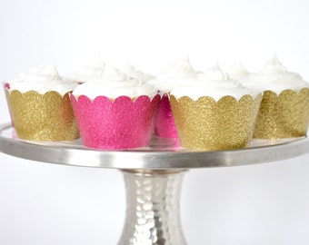 Mini Cupcake Wrapper Sets of 24, 30, 40, 50, 60, 70, 80, 90 or 100 In Your Choice of Glitter Colors!
