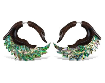 Swan Wings with Abalone and Wood - Tribalstyle Fake Gauges