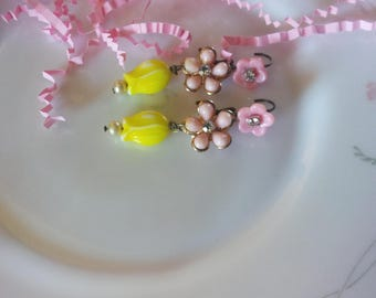 Spring Floral.vintage recycled recycled assemblage earrings
