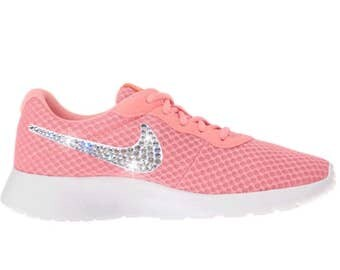 NEW Bling Nike Tanjun Shoes with Swarovski Crystal Detail - Pale Pink - Lava Glow, Total Crimson & White