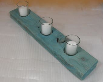Votive Candle Holder - Unique Sandblasted Aqua Color Wood Candle Holder - Shabby Chic Decor