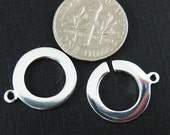 925 Sterling Silver - Interlocking Circle Rings- Toggle Rings , Toggle Connector, Jewelry Closures and Endings  (15mm - 1 set) Sku: 202106