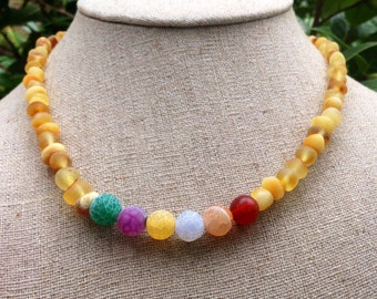 Rainbow Agate + Baltic Amber necklace - calming, stress reducing - 16 inches long