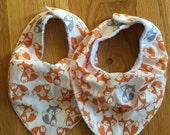 Custom Listing for Shawna- Twin set of Woodland Fox Bandana Bibs