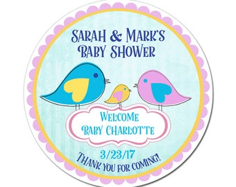 Custom Baby Girl Shower Labels Family of Three Birds Personalized Round Glossy Designer Stickers