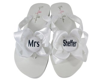 d5f198635474 navy mrs wedding flip flops bridal sandal in your choice of white or ivory  in a