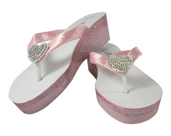 Ombre Flip Flops, Glitter Ivory or White Wedge Heels, Wedding Shoe for Bride/ Bridesmaids , Petal Pink and Light Pink with Heart Rhinestone