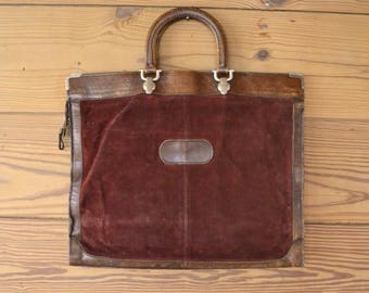 1930s briefcase maroon and brown leather bag / corduroy burgundy laptop carrier handles zipper