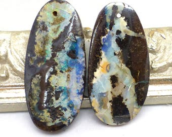 Boulder Opal Bead Pair Australian Coober Pedy Free Form Handmade Designer One of a Kind Authentic Natural For Earrings Drilled Beads