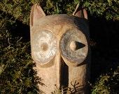 Hand Carved Owl Spirit / Totem Mask with Remnants of original paint~ Tribal Spirit Mask ~ Tribal Dance Mask ~ Bird Spirit ~ Bird Totem