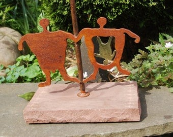 Vintage Cave Dwelling Family, Prehistoric Mother with Child, Paleolithic Drawing Style Cutout Steel & Etched Sand Stone OoAK Table Lamp