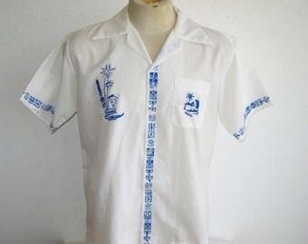 HOLIDAY SALE Vintage Tahiti Blue & White Tropical Tiki Luau Mens Hawaiian Aloha Shirt XL