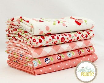 "Vintage Picnic - Pink - Half Yard Bundle - 5 - 18""x44"" Cuts - Bonnie and Camille - Moda Quilt Fabric"