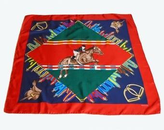 Vintage 80s Gucci Silk Scarf Equestrian Horse Print