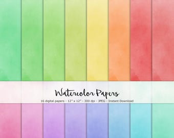 NEW!! Watercolor Paper Set of 16 - Printable and Digital