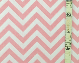 Light Pink and White Chevron Fabric Quilting Cotton Fabric