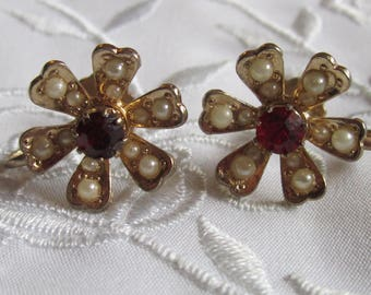 Vintage Coro Flower Shaped Screw Back Earrings with Tiny Faux Pearls and Ruby Red Rhinestone