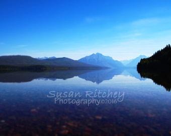 Glacier National Park Blue, 5x7 Print in 8x10 mat, Mountain Photograph