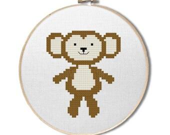"Monkey cross stitch pattern - ""cute kawaii monkey"" - cross stitch pdf pattern - zoo cross stitch - animal cross stitch - INSTANT DOWNLOAD"