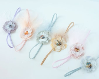 Simple Dainty feather beaded fabric flower pastel headband bow starter set