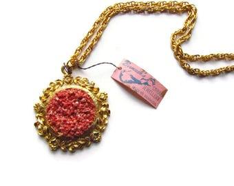 SALE-Vintage Collected Bermuda Coral Pendant Necklace c.1960s