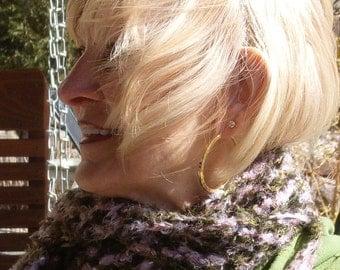 Women's crochet scarf bohemian accessories pink green fashion scarf