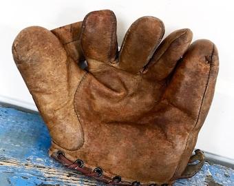 Antique Baseball Glove, Vintage Baseball Glove, Leather Baseball Glove, 1930s Baseball Glove, Split Finger Glove