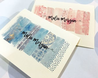 Watercolor Note Cards, Custom Stationery,  Personalized Greeting Card Set of 6