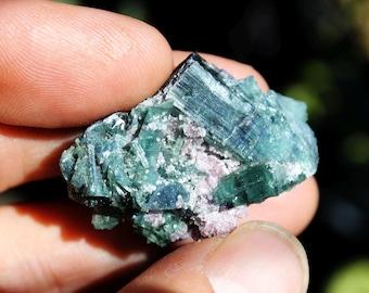 Blue Tourmaline Crystal Cluster Specimen with Lepidolite