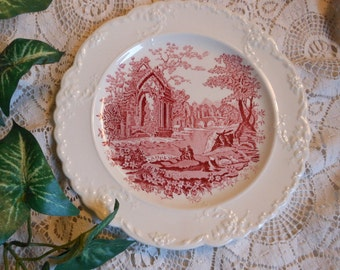 Pink Red Transferware English Abbey Plate Vintage at Quilted Nest
