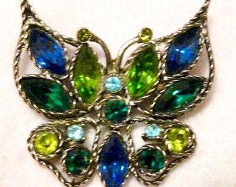 """Rhinestone Butterfly Brooch Jewelry Pin 2"""" x 2"""""""