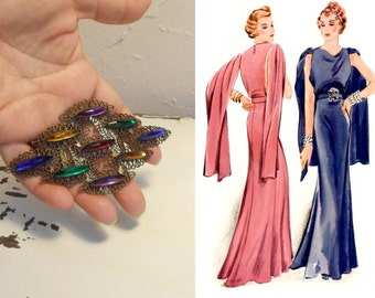 Why It's All the Rage - Vintage 1930s Art Deco Multi-Colour Glass Stone Filigree Dress Belt Buckle