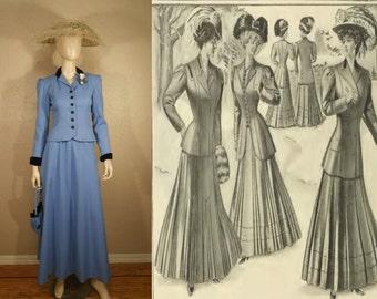 Le Grande Belle Epoque - Vintage Reproduction 1910 Periwinkle Blue Walking Suit - Theatre/Film 3 Piece Set