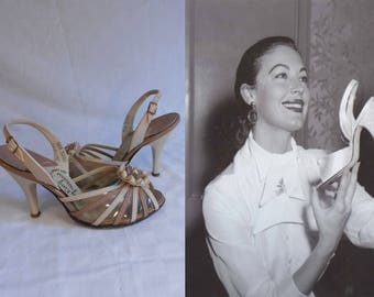 Ava Approves of the Shoes - Vintage 1950s Kay King Cream & Beige Leather Plastic D'Orsay Slingback Stilettos - 5M