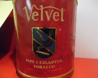 Vintage velvet tin, old Velvet tin, vintage tobacco tin, old tobacco tin